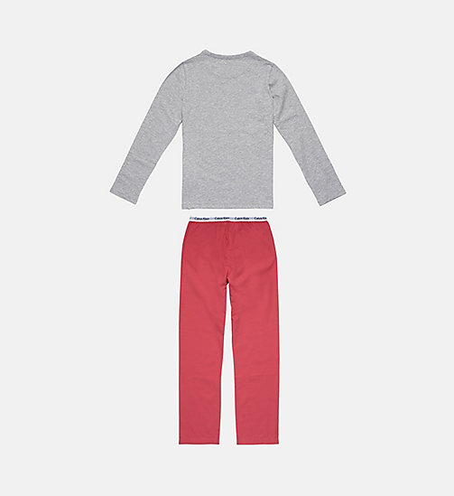 CALVINKLEIN Girls PJ Set - Modern Cotton - GREY HEATHER/ RASPBERRY - CALVIN KLEIN GIRLS - detail image 1
