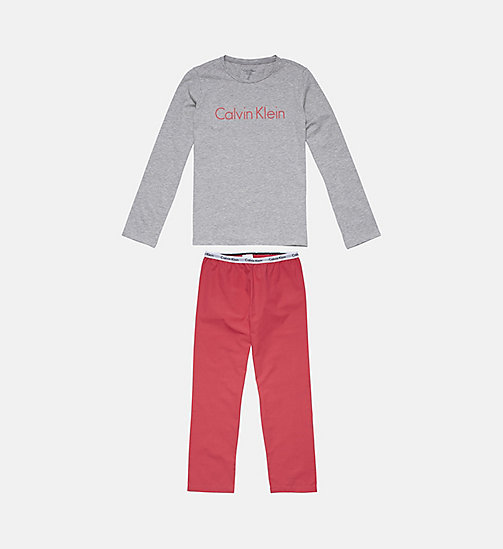 CALVINKLEIN Girls PJ Set - Modern Cotton - GREY HEATHER/ RASPBERRY - CALVIN KLEIN GIRLS - main image