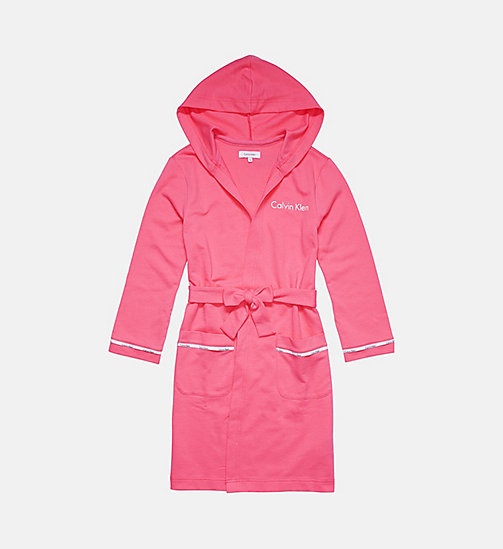 CALVINKLEIN Girls Hooded Robe - Modern Cotton - PINK LEMONADE - CALVIN KLEIN PYJAMAS - main image