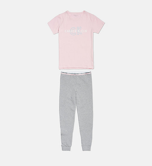 CALVINKLEIN Girls PJ Set - CK Graphic - 1UNIQUEPINK/1GREYHEATHER - CALVIN KLEIN GIRLS - main image