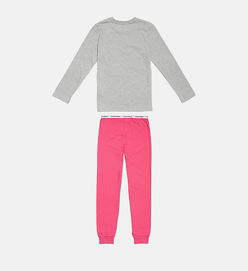 CALVINKLEIN Girls PJ Set - Modern Cotton - 1GREYHEATHER/1BEETROOTPURPLE - CALVIN KLEIN GIRLS - detail image 1