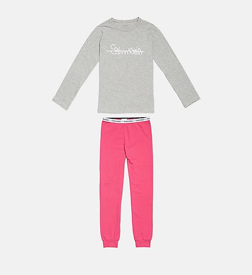 CALVINKLEIN Girls PJ Set - Modern Cotton - 1GREYHEATHER/1BEETROOTPURPLE - CALVIN KLEIN GIRLS - main image