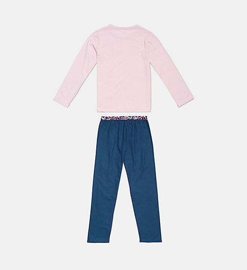 CALVINKLEIN Girls PJ Set - CK Graphic - 1BLUEWINGTEAL/1UNIQUEPINK - CALVIN KLEIN GIRLS - detail image 1