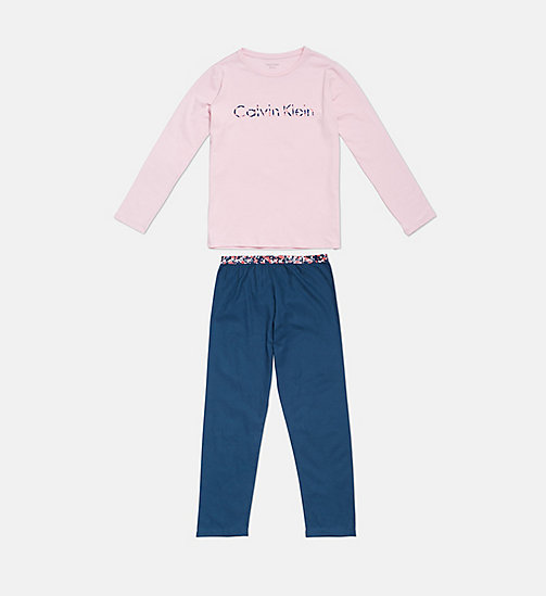 CALVINKLEIN Girls PJ Set - CK Graphic - 1BLUEWINGTEAL/1UNIQUEPINK - CALVIN KLEIN GIRLS - main image