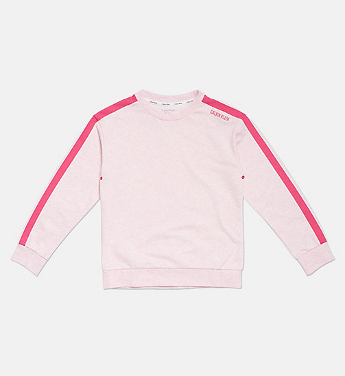 CALVIN KLEIN Accent Stripe Girls Sweatshirt - PINK HEATHER - CALVIN KLEIN GIRLS - main image
