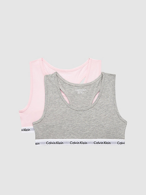 CALVINKLEIN 2 Pack Girls Bralette - Modern Cotton - GREY HTR/UNIQUE - CALVIN KLEIN GIRLS - main image