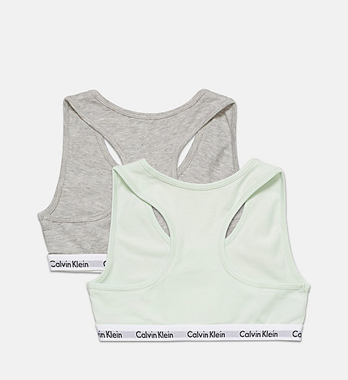 CALVINKLEIN 2 Pack Girls Bralettes - Modern Cotton - 1 GRY HTHR/1 SPRAY - CALVIN KLEIN GIRLS - detail image 1