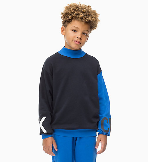 CALVIN KLEIN JEANS Logo Mock Neck Jumper - NAUTICAL BLUE - CALVIN KLEIN JEANS BOYS - main image