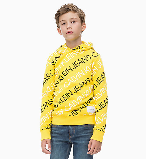 CALVIN KLEIN JEANS All-over Logo Hoodie - LEMON - CALVIN KLEIN JEANS BOYS - main image