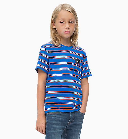 CALVIN KLEIN JEANS Striped Logo T-shirt - NAUTICAL BLUE - CALVIN KLEIN JEANS MEN - main image