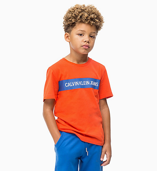 CALVIN KLEIN JEANS Colour-Blocked Logo T-shirt - ORANGE COM - CALVIN KLEIN JEANS BOYS - main image