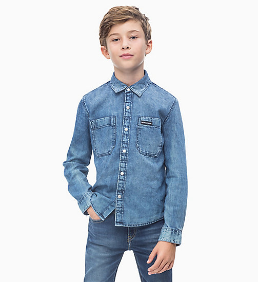 CALVIN KLEIN JEANS Vintage Denim Shirt - WASHED BLUE RIGID - CALVIN KLEIN JEANS BOYS - main image