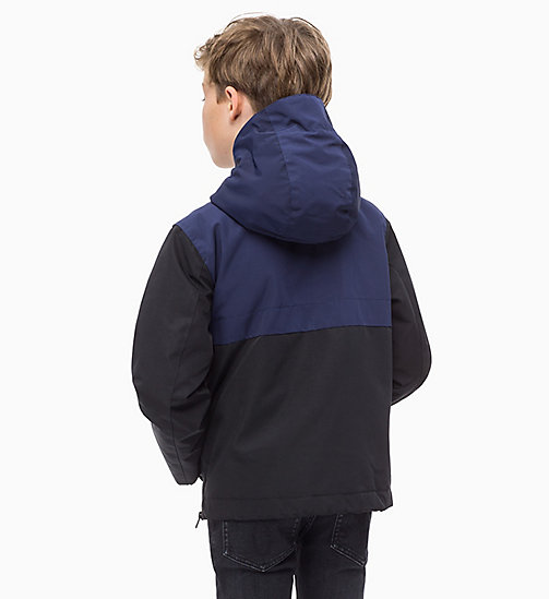 CALVIN KLEIN JEANS Hooded Colour-Blocked Anorak - BLACK BEAUTY - CALVIN KLEIN JEANS BOYS - detail image 1