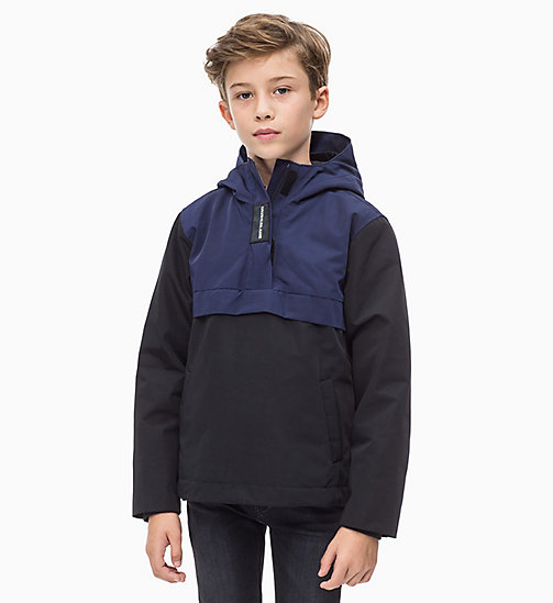 CALVIN KLEIN JEANS Hooded Colour-Blocked Anorak - BLACK BEAUTY - CALVIN KLEIN JEANS BOYS - main image