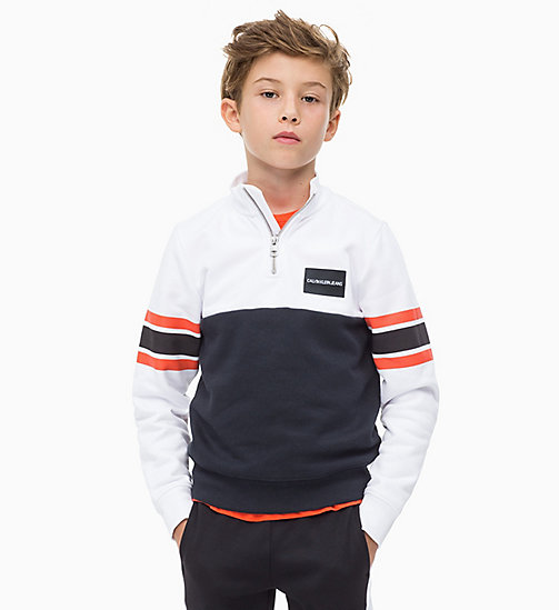 CALVIN KLEIN JEANS Colour-Blocked Mock-Neck Jumper - BLACK BEAUTY - CALVIN KLEIN JEANS BOYS - main image