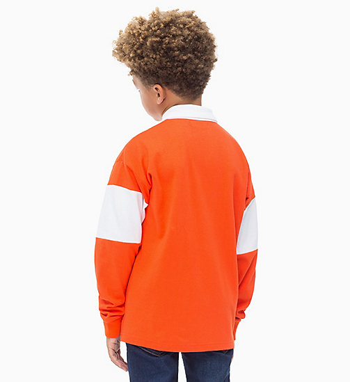 Rugby Stripe Polo - ORANGE COM - CALVIN KLEIN JEANS BOYS - detail image 1