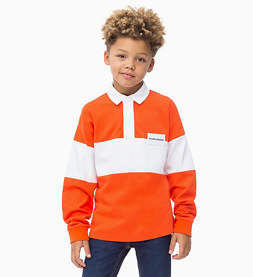 Rugby Stripe Polo - ORANGE COM - CALVIN KLEIN JEANS BOYS - main image