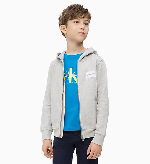 CALVIN KLEIN JEANS Zip Through Hoodie - LIGHT GREY HEATHER - CALVIN KLEIN JEANS MEN - main image
