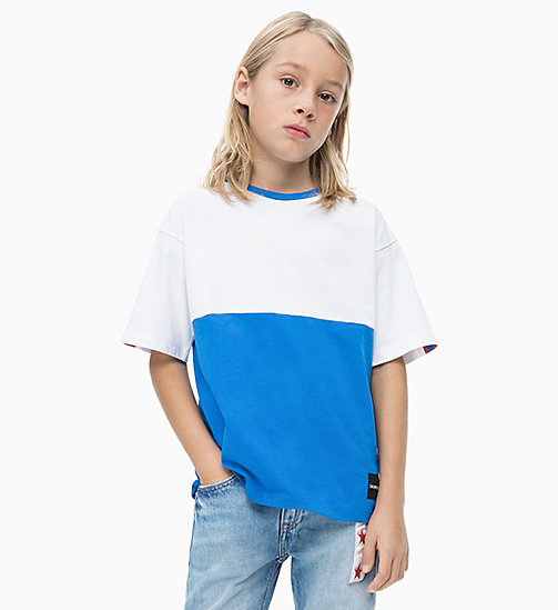 CALVIN KLEIN JEANS T-shirt oversize a righe grosse colorate - ELECTRIC BLUE LEMONADE - CALVIN KLEIN JEANS UOMO - immagine principale