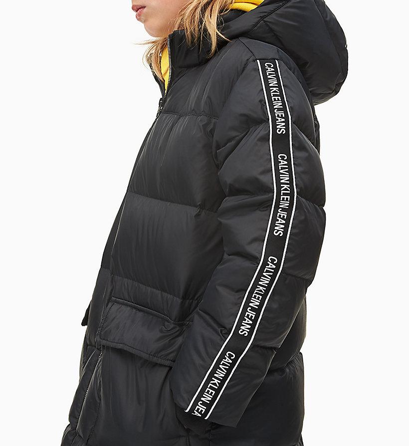 Calvin Klein Down Logo Tape Long Jacket Black