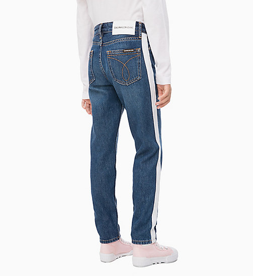 CALVIN KLEIN JEANS Boyfriend Jeans with Tape Detail - IZON MID BLUE RIGID - CALVIN KLEIN JEANS GIRLS - detail image 1