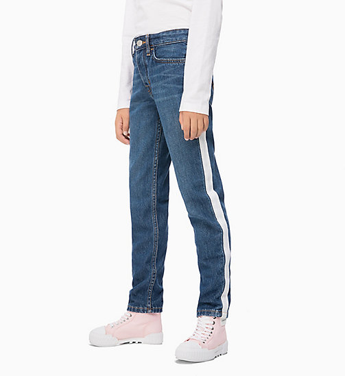 CALVIN KLEIN JEANS Boyfriend Jeans with Tape Detail - IZON MID BLUE RIGID - CALVIN KLEIN JEANS GIRLS - main image