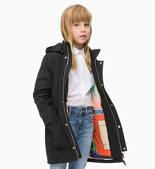 CALVIN KLEIN JEANS Hooded Parka Jacket - BLACK BEAUTY - CALVIN KLEIN JEANS GIRLS - main image