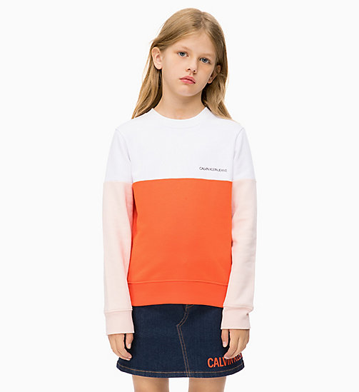CALVIN KLEIN JEANS Felpa a righe grosse colorate - ORANGE COM - CALVIN KLEIN JEANS RAGAZZA - immagine principale