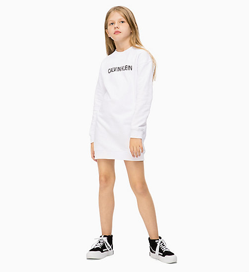 Logo Sweatshirt Dress - BRIGHT WHITE - CALVIN KLEIN JEANS GIRLS - main image