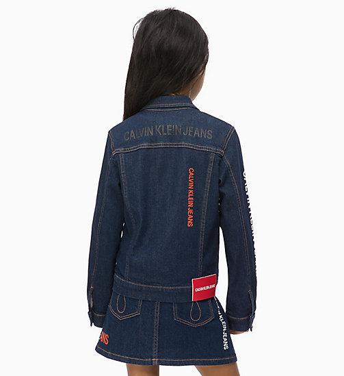 CALVIN KLEIN JEANS Logo Denim Jacket - LOGO RINSE BLUE STRETCH - CALVIN KLEIN JEANS GIRLS - detail image 1