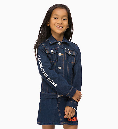 CALVIN KLEIN JEANS Logo Denim Jacket - LOGO RINSE BLUE STRETCH - CALVIN KLEIN JEANS GIRLS - main image