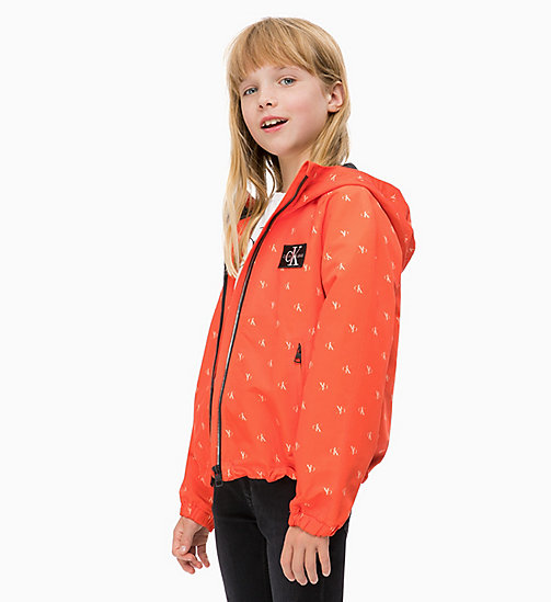 CALVIN KLEIN JEANS Antivento con logo all-over - ORANGE COM - CALVIN KLEIN JEANS RAGAZZA - immagine principale