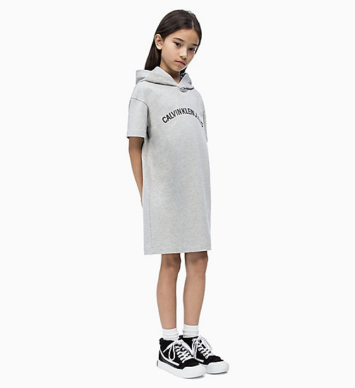 CALVIN KLEIN JEANS Hooded Sweatshirt Dress - LIGHT GREY HEATHER - CALVIN KLEIN JEANS MEN - main image