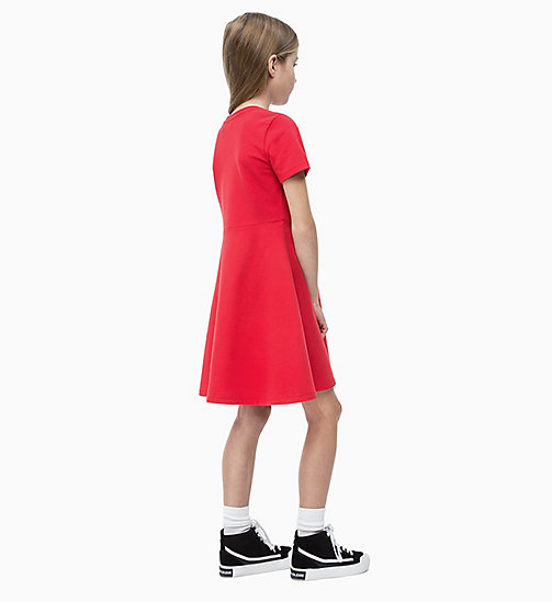 CALVIN KLEIN JEANS Cotton Terry Skater Dress - RACING RED - CALVIN KLEIN JEANS MEN - detail image 1