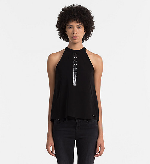 CALVIN KLEIN JEANS Studded Halter Top - CK BLACK - CALVIN KLEIN JEANS CLOTHES - main image