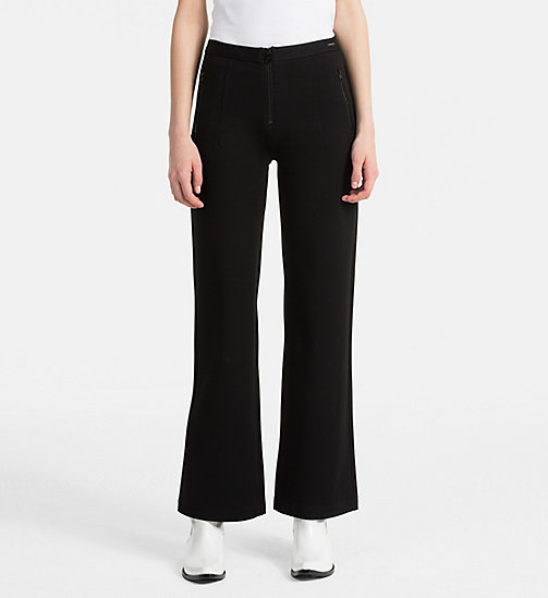 CALVIN KLEIN JEANS High Rise Straight Trousers - CK BLACK - CALVIN KLEIN JEANS TROUSERS - main image
