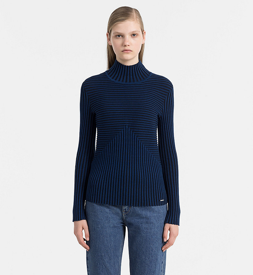 CALVIN KLEIN JEANS Rib-Knit Turtleneck Sweater - CK BLACK / RABBIT - CALVIN KLEIN JEANS JUMPERS - main image
