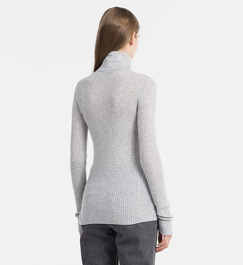 CALVIN KLEIN JEANS Wool Blend Roll Neck Sweater - EGRET - CALVIN KLEIN JEANS JUMPERS - detail image 2