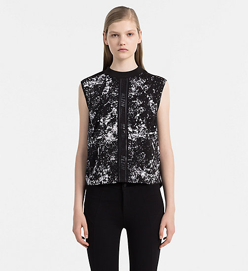 CALVIN KLEIN JEANS Mesh Trim Printed Top - SPEED RACER AOP CK BLACK - CALVIN KLEIN JEANS CLOTHES - main image