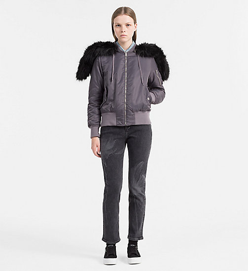 CALVIN KLEIN JEANS Hooded Bomber Jacket - RABBIT - CALVIN KLEIN JEANS CLOTHES - detail image 1