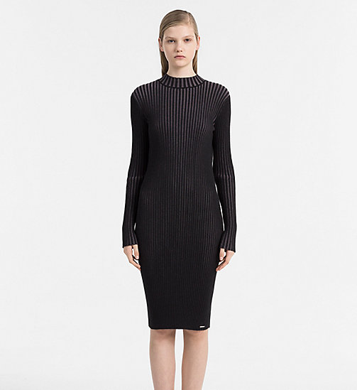 CALVIN KLEIN JEANS Two-Tone Knit Dress - CK BLACK / RABBIT - CALVIN KLEIN JEANS NEW ARRIVALS - main image