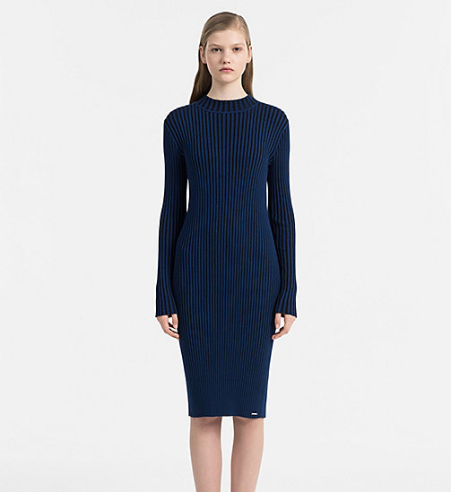 CALVIN KLEIN JEANS Two-Tone Knit Dress - POSEIDON / CK BLACK - CALVIN KLEIN JEANS NEW ARRIVALS - main image