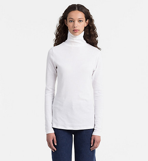 CALVIN KLEIN JEANS Rib-Knit Turtleneck Top - BRIGHT WHITE - CALVIN KLEIN JEANS #MYCALVINS WOMEN - main image