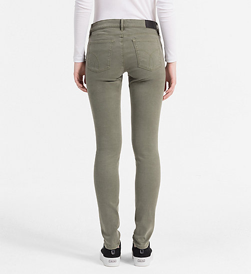 CALVIN KLEIN JEANS Mid Rise Skinny Trousers - DUSTY OLIVE - CALVIN KLEIN JEANS TROUSERS - detail image 1