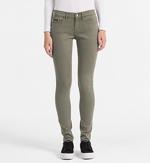 CALVIN KLEIN JEANS Mid Rise Skinny Trousers - DUSTY OLIVE - CALVIN KLEIN JEANS TROUSERS - main image