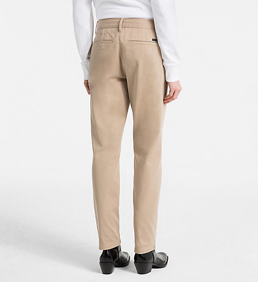 CALVIN KLEIN JEANS Peached Twill Chino Trousers - SILVER MINK - CALVIN KLEIN JEANS TROUSERS & SHORTS - detail image 1