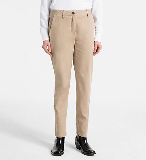 CALVIN KLEIN JEANS Peached Twill Chino Trousers - SILVER MINK - CALVIN KLEIN JEANS TROUSERS & SHORTS - main image