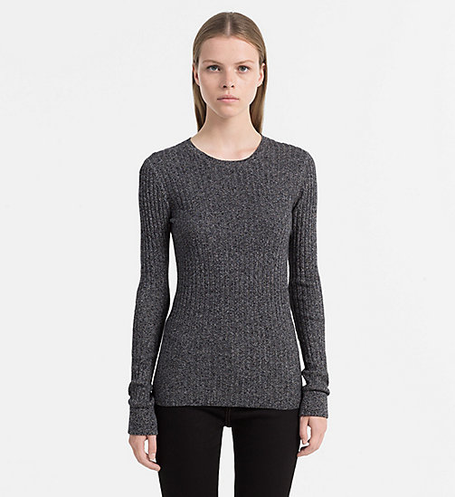 CALVIN KLEIN JEANS Cotton Silk Rib Sweater - SPACE DYE BLACK - CALVIN KLEIN JEANS KNITWEAR - main image