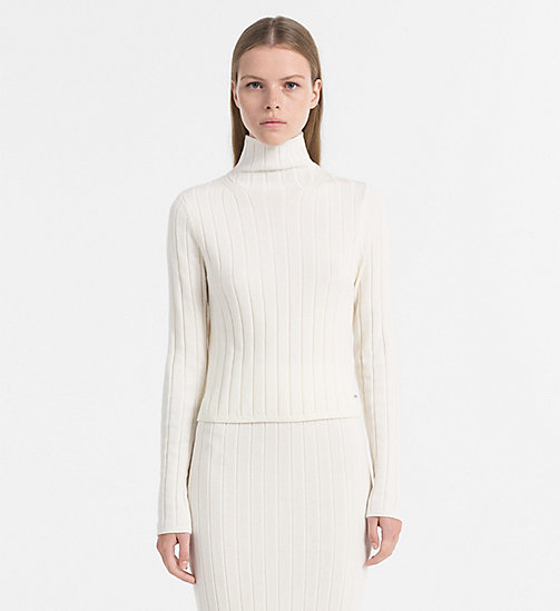 CALVIN KLEIN JEANS Wool Cotton Turtleneck Sweater - EGRET - CALVIN KLEIN JEANS KNITWEAR - main image