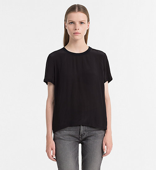 CALVIN KLEIN JEANS Crepe Short-Sleeve Top - CK BLACK -  TOPS - main image